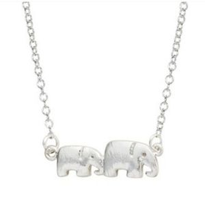 Elephant chain necklace silver one size